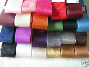 38mm (+ some 50mm) ORGANZA RIBBON  various colours  2m ,  5m or 10m
