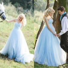 Elegant Blue Strapless Wedding Dresses Plus Size Long Tulle Country Bridal Gowns
