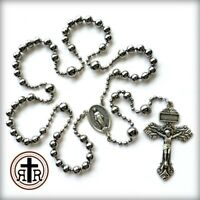 Rugged WWI Battle Beads Silver Combat Rosary | Historical Soldier Rosary