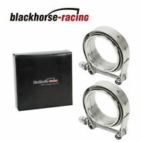 """2 X 2.5"""" V-Band Flange & Clamp Kit for Turbo Exhaust Downpipes Stainless Steel"""
