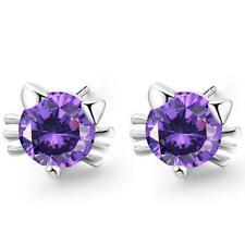 925 Sterling Silver Amethyst Cat Stud Earrings Women's Fashion Jewellery