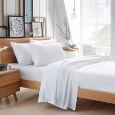 WHITE 100% EGYPTIAN COTTON BAMBOO BED LINEN SHEET HIGH QUALITY NATURAL