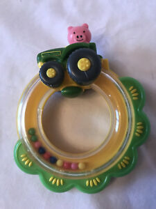 The First Years John Deere Tractor Ring Rattle Baby Toy Pig Driving Tractor