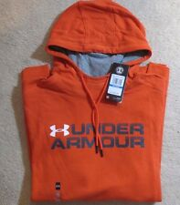 UNDER ARMOUR Large Sportstyle Fleece Wordmark Orange Hoodie SweatShirt 1288671