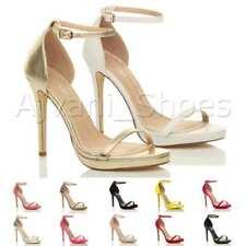 Mujeres Alto Tacón Abierto Hebilla Fiesta Zapatos Sandalias con Tiras Número
