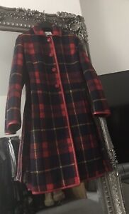 Gianni Feraud Red check Tartan coat with faux leather trim UK 12 Christmas