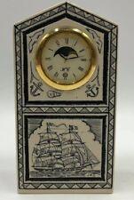 Rare Shiojiri Ltd. Japan~Carved Nautical Theme Moon Phase Desk Clock