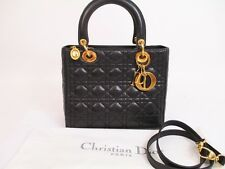 Auth Christian Dior Lamb Leather Black Hand Bag Lady Dior Cannage w/Strap #4882