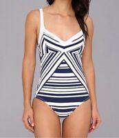 Womens NANETTE LEPORE Sportif Strip Seductress One Piece Swimsuit Sz XS 191410