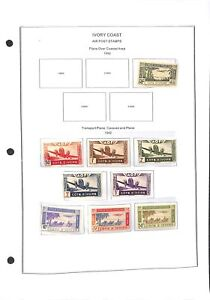 [OP7771] Ivory Coast lot of stamps on 12 pages