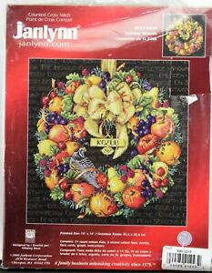 Janlynn Holiday Wreath Counted Cross Stitch New Free Shipping #023-0435