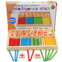 Wooden Math Counting Block Sticks Educational Learning Number Abacus For Kids AU