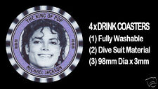 4  x  MICHAEL JACKSON, THE KING OF POP, TRIBUTE - DRINK COASTERS Fully Washable