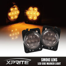 Xprite Front Fender LED Side Marker Light Smoke Lens for 07-18 Jeep Wrangler JK