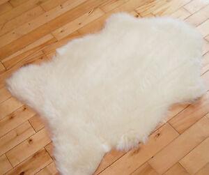 Fluffy New Plain Ivory Cream Sheep skin Rug Soft Faux Fur Fake Mats Bedroom Rugs