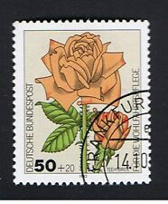 GERMANIA 1 FRANCOBOLLO BENEFICENZA ROSE TEEHYBRIDE 1982 timbrato