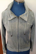 PETER ALEXANDER ~ Mossy Green Velour Hooded Tracksuit Top Gold Stud Detail ~ M