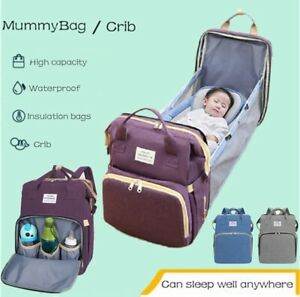 Portable Mummy Bag Maternity Nappy Diaper Crib Travel Folding Baby Bed Backpack