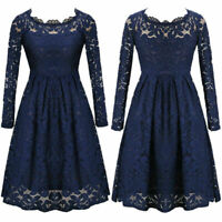 Women Lace Sexy Off Shoulder Long Sleeve Summer Evening Party Short Dress