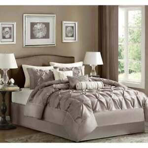 BEAUTIFUL ELEGANT CHIC TAUPE BROWN WHITE RUFFLE SATIN SHEEN TUFTED COMFORTER SET