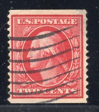 U.S. STAMPS #353 — 2c WASH-FRANKLIN — COIL — 1909 — USED + CERTIFICATE