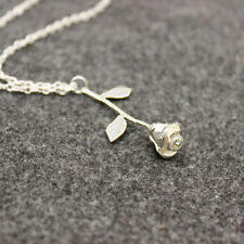 Fashion Silver Delicate Rose Flower Pendant Necklace Chain Girl's Love Jewelry