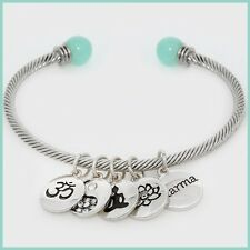 Silver Metal Charm Disc Karma Lotus Flower Buddha Crystal Cuff Bracelet Yin Yang