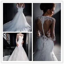 2017 Mermaid White/ivory Wedding dress Bridal Gown custom size 6-8-10-12-14-16+