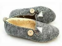 WOMEN LADIES 100% REAL NATURAL WOOL/ FELT SLIPPERS MULES SHOES ALL SIZES