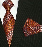 Binder de Luxe Designer Krawatte mit Einstecktuch Krawatten 2er Set 525 Orange