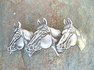 3 Horse Silver Plated French Clip Hair Barrette 80MM clip Made in USA 6021B