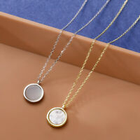 NEW REAL s925 Sterling Silver Natural Mother of Pearl Round Pendant Necklace