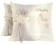 Ivory Satin Wedding Kneeling Pillow Set - Nuestra Boda Kneeling Pillows (2 pcs)