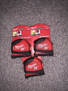 Milwaukee 48-22-6625 25' General Contactor Tape Measure Lot Of 3
