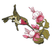 Hummingbird - Bird - Garden - Burgundy/Pink - Iron On Applique Patch - Right