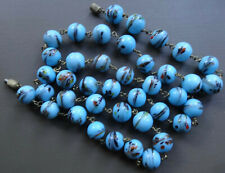 bead sky blue brass wired necklace -R137 vintage art deco end of day glass