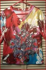 """V-Neck Cotton Blend Knit Top (M) Colorful Tie Dye Paint Splatter Print 38"""" bust"""