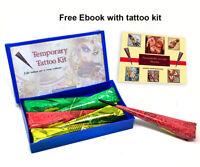 Henna DIY Temporary tattoo Kit Henna mehendi cones for body Art with stencils