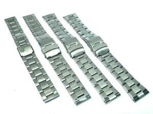 18 20 22 24 mm Edelstahl Glieder Uhrenarmband Uhr Faltschließe Metall silber