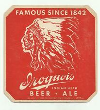 "1940's Iroquois Brewery Coaster Buffalo, Ny 6"" Indian Head Beer & Ale ""Pitchers"""