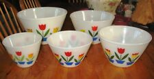 Set of Fire King Nested Mixing Bowls with Tulip Decals plus Grease Bowl!