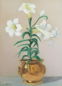Framed Pastel on Board White Lily Plant Still Life Signed Caterine U. Stolle