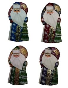 Russian Santa Hand Carved/Painted w/X-mas Tree & Bag #1017/6-18