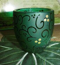 Partylite Teelicht-u. Votivkerzenhalter Festive Flair Weihnachten hier Glas grün