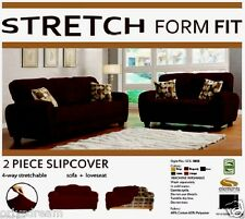 STRETCH FORM FIT - 2 Pc Slipcovers Set ,Sofa + Loveseat Covers - CHOCOLATE BROWN