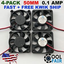 12V 50mm Cooling Fan 50x50x10mm DC PC Computer Case 3D Printer 5010 2-Pin 4-Pack