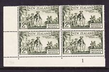 NEW ZEALAND 1935-36 2/- OLIVE GREEN PLATE BLOCK P 13-14 x 13½ SG 569 MINT.
