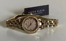 NEW! ANNE KLEIN SWAROVSKI CRYSTALS BLUSH PINK DIAL GOLD BRACELET WATCH $85 SALE
