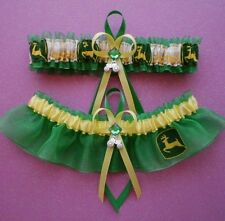John Deere Fabric Jewel Wedding Bridal Garter Set Prom Double Heart 3D Charm