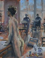 Richard Blowey Original Oil Painting - Art Class With Nude Woman (Cornish Art)
